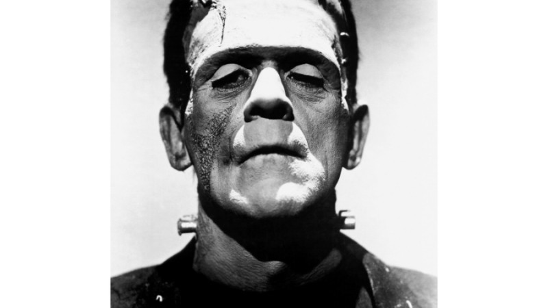"""A promotional photo of Boris Karloff as Frankenstein's monster from Universal Studios """"The Bride of Frankenstein."""" (Photo via <a"""