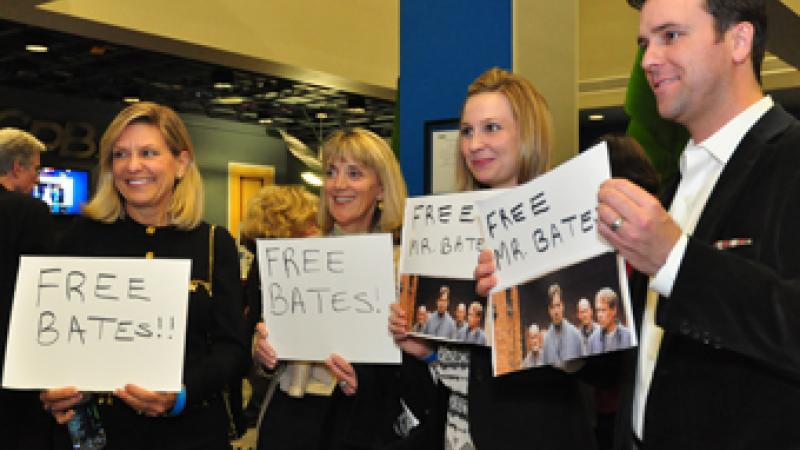 "Fans chant ""Free Bates"" at the Downton Abbey premiere gala."
