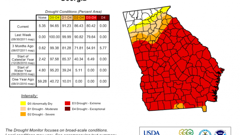 The U.S. Drought Monitor for the state of Georgia, as of September 6, 2011.