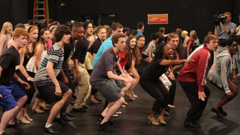 Students participate in a group rehearsal during their week in New York City.