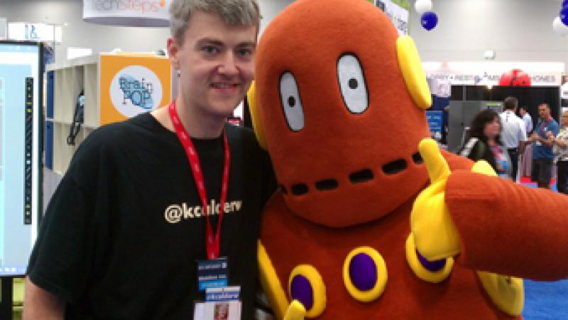 Kyle Calderwood @kcalderw poses with Moby. Photo courtesy twitter.com/Kyle Calderwood @kcalderw.