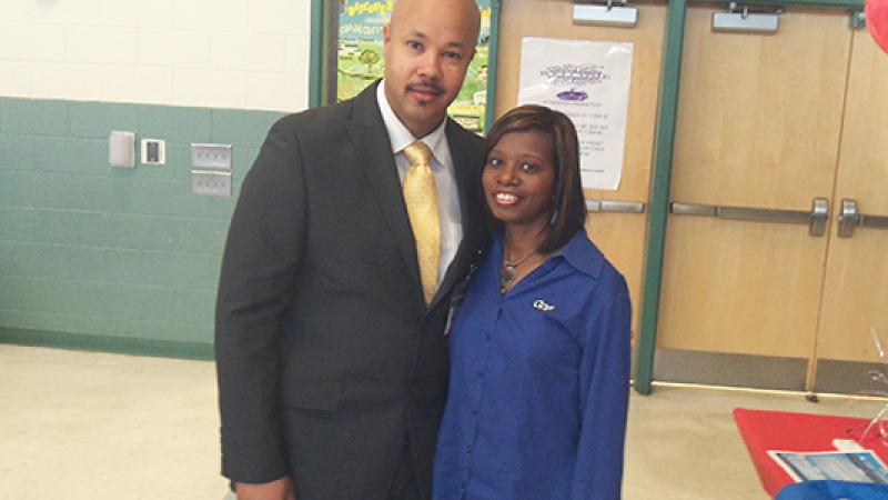 Principal Bolden and me at the start of Career Day.