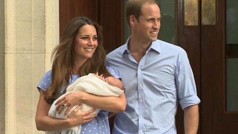 Kate Middleton and Prince William emerge with their new infant son. Might they name him George- like George Crawley? (Photo BBC)