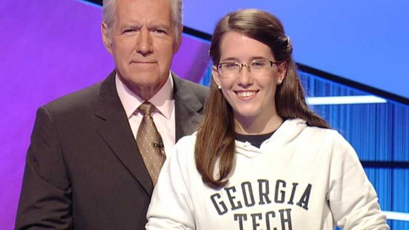 Georgia Tech Student Kristin Jolley with Jeopardy Host Alex Trebek (photo courtesy of NBC)