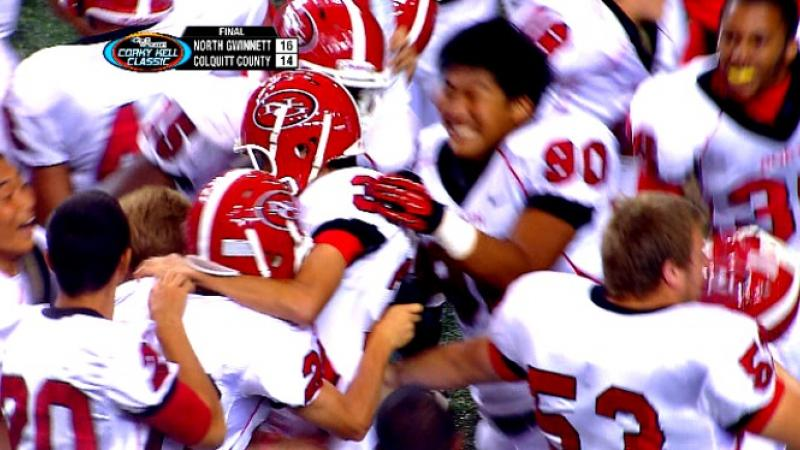 The North Gwinnett Bulldogs celebrate a touchdown in the 2012 Corky Kell Classic.