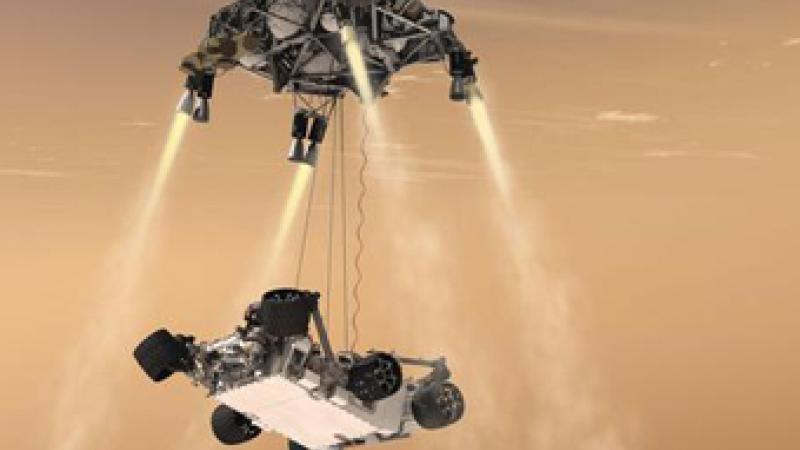 An artist rendering of Mars Curiosity probe's landing. Courtesy NASA/JPL-Caltech.