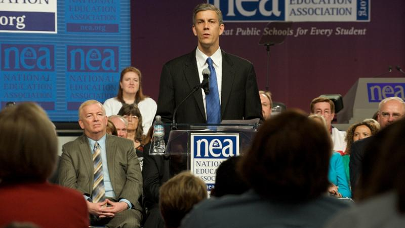 Education Secretary Arne Duncan speaks at a 2009 NEA conference. Photo courtesy ed.gov