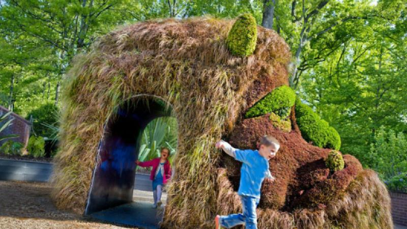 Kids can run through the giant ogre, one of the featured plant sculptures of Imaginary Worlds. Photo Atlanta Botanical Garden.