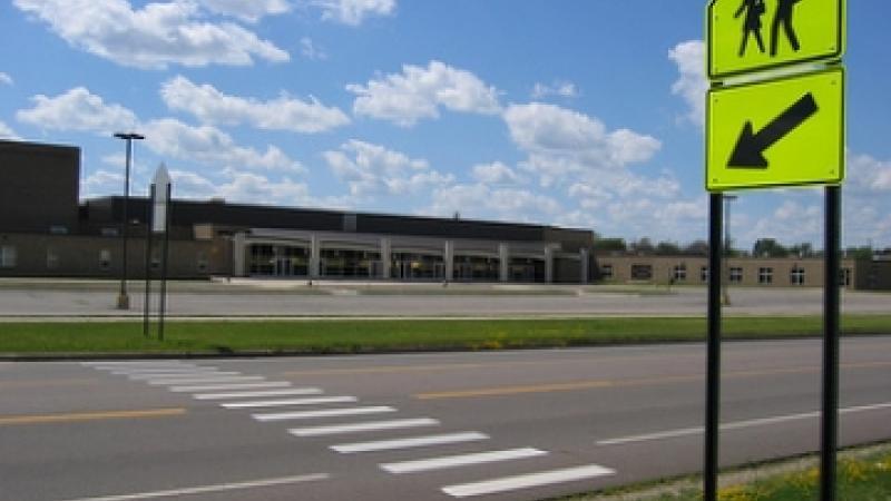 Empty school crosswalk
