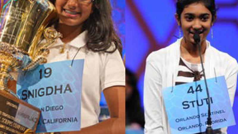 Snigda Nandipati (left) won the 2012 Scripps Howard National Spelling Bee. Stuti Mishra (right) came in second.