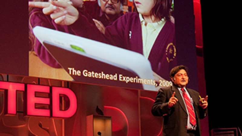 Professor Sugata Mitra at a TED Talk in 2010.