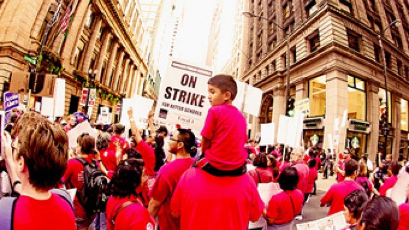 Chicago teachers rally during the walk out. Image courtesy flickr photostream kirstiecat.