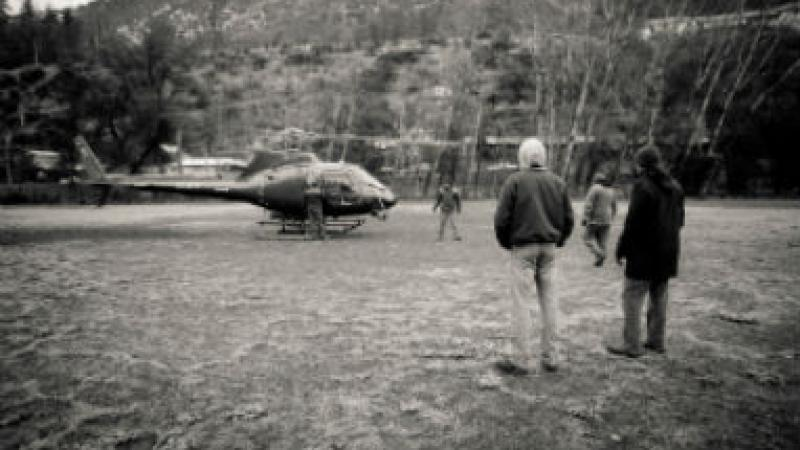 Helicopter crew right before the first safety briefing on the day of the first installation in San Jose de Maipo.