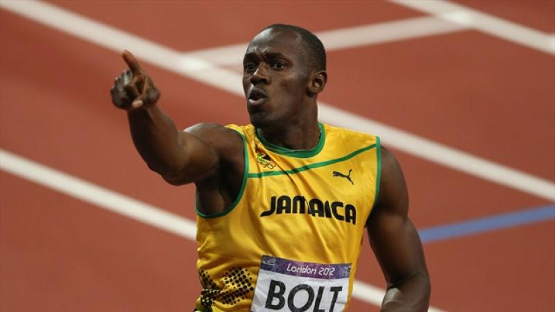 Usain Bolt's 6'5 height and lean muscle mass contribute to his Olympic victory. (Photo courtesy http://www.london2012.com)