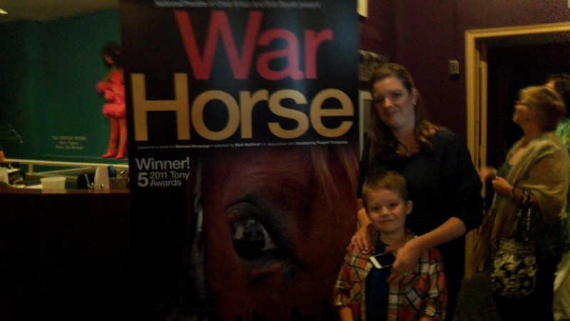 "Charity Kinneer and her son Caleb at the meet and greet for ""War Horse."""