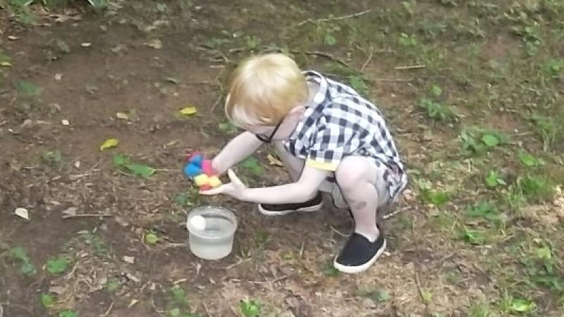 My kid playing with the water sponge I made for his party last weekend.  Very successful!
