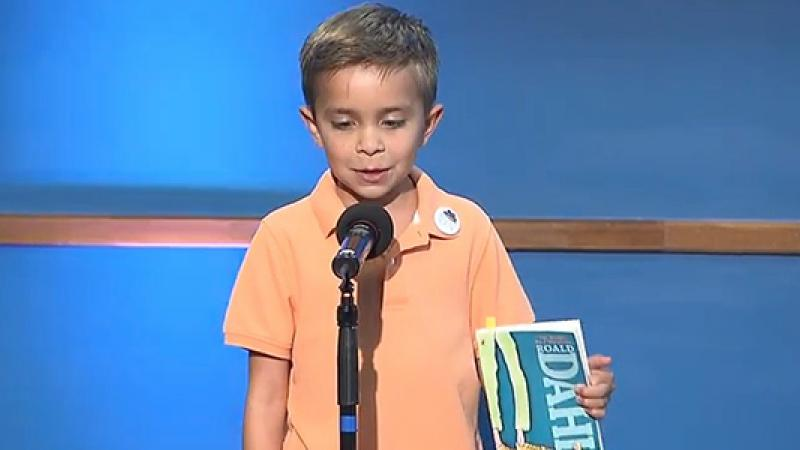 """3rd Grader Luke Valladares recites a passage from Roald Dahl's """"The BFG"""" to kick off the Get Georgia Reading Campaign."""