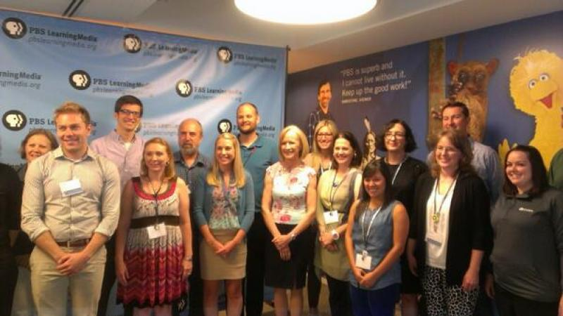 PBS Learning Media Digital Innovators smile for the cameras with Newshour's Judy Woodruff. Courtesy @LDHirsh.