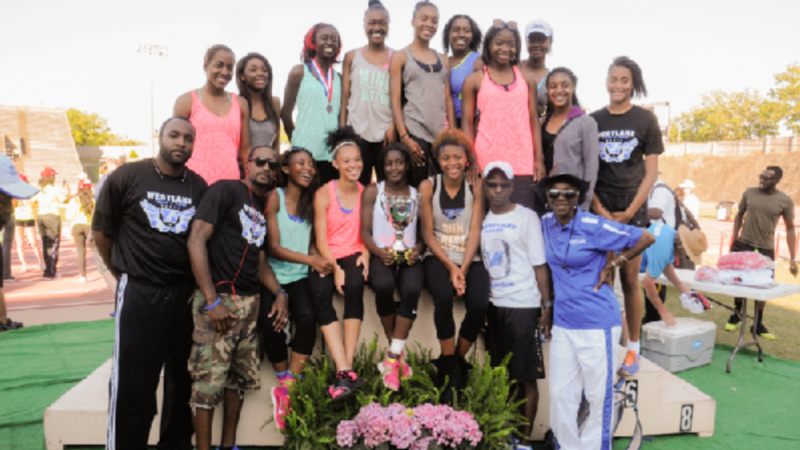 The 6A girls Westlake track team poses for a team photo after winning the 2014 state title in Albany, Georgia.