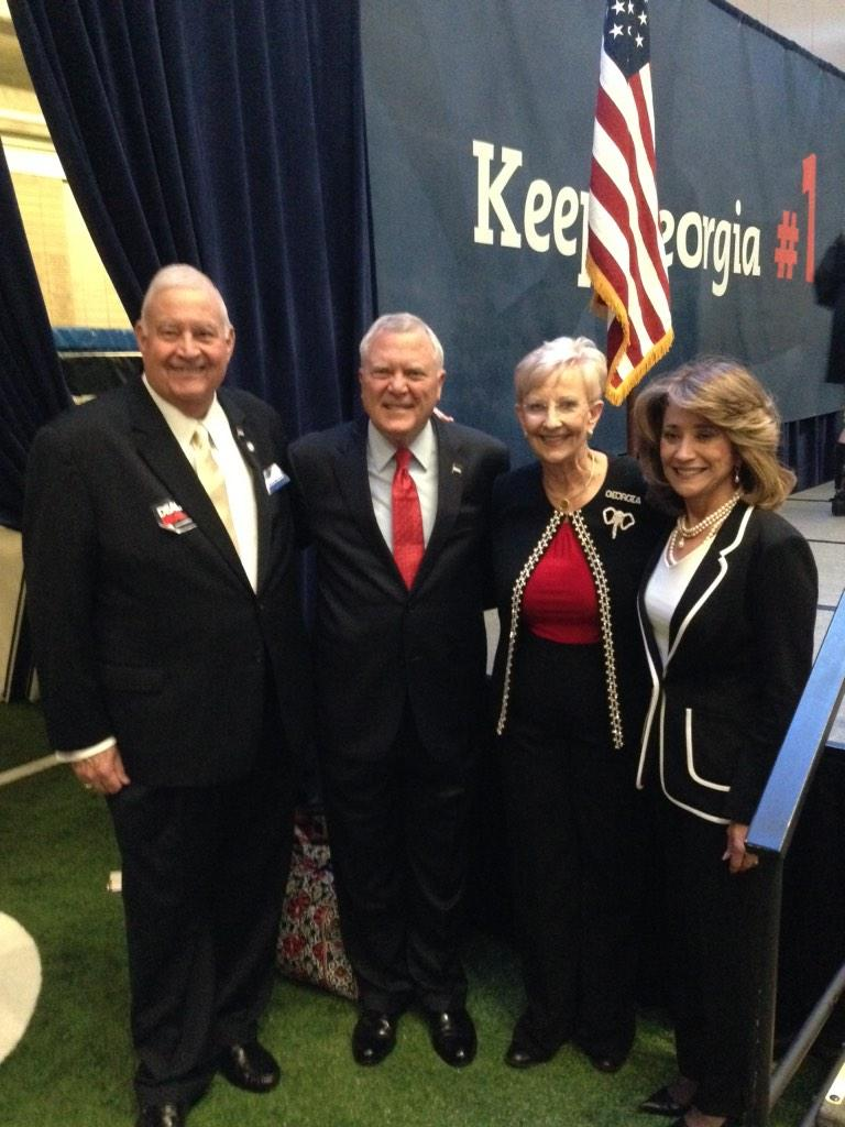 Gov. Nathan Deal, wife Sandra and supporters anticipate victory at his watch party on election night.