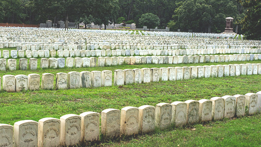Photo of grave markers at Andersonville
