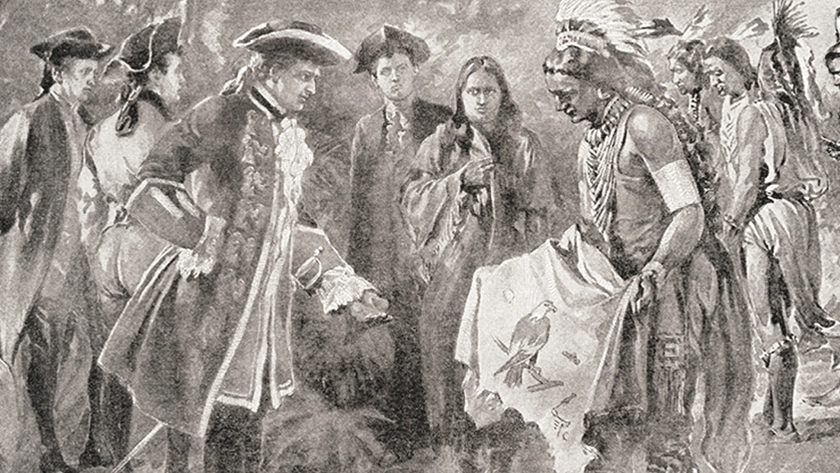 Illustration of Creek Indians and settlers