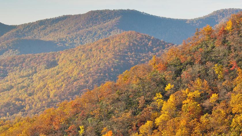Aerial photo of hills in Georgia Piedmont region